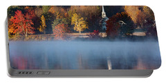 Portable Battery Charger featuring the photograph Little White Church On Crystal Lake by Jeff Folger