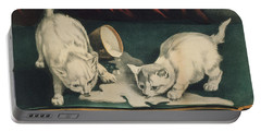 Portable Battery Charger featuring the painting Little White Kitties Into Mischief                                                      by Matthias Hauser