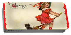 Little Witch Riding A Broom Portable Battery Charger