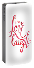Portable Battery Charger featuring the drawing Live Love Laugh by Cindy Garber Iverson