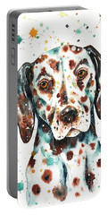 Portable Battery Charger featuring the painting Liver-spotted Dalmatian by Zaira Dzhaubaeva