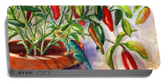 Portable Battery Charger featuring the painting Lizard In Hot Sauce by Marilyn Smith