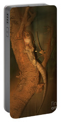 Portable Battery Charger featuring the photograph Lizard On A Tree Trunk by Elaine Teague