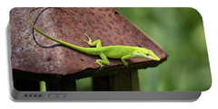 Lizard On Lantern Portable Battery Charger by Stephanie Hayes