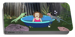 Portable Battery Charger featuring the digital art Lizard People by Megan Dirsa-DuBois