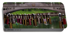 Portable Battery Charger featuring the photograph Ljubljana Love Locks - Slovenia  by Stuart Litoff