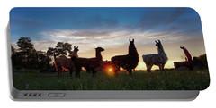 Llamas At Sunset Portable Battery Charger