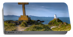 Portable Battery Charger featuring the photograph Llanddwyn Cross by Adrian Evans