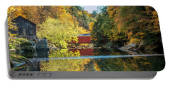 Portable Battery Charger featuring the photograph Mcconnell's Mill And Covered Bridge by Skip Tribby