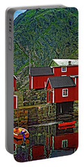 Lofoten Fishing Huts Portable Battery Charger by Steve Harrington