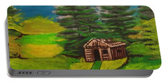 Portable Battery Charger featuring the painting Log Cabin by Brindha Naveen