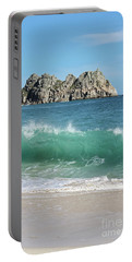 Portable Battery Charger featuring the photograph Logan Rock Porthcurno Cornwall by Terri Waters