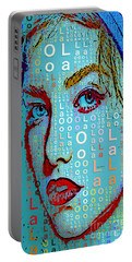 Portable Battery Charger featuring the digital art Lola Knows by Rafael Salazar