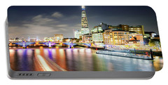 London At Night With Urban Architecture, Amazing Skyscraper And Boat At Thames River, United Kingdom Portable Battery Charger