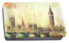 London Big Ben And Thames River Portable Battery Charger by Juan Bosco