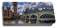 Portable Battery Charger featuring the painting London Big Ben by David Dehner