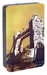 Portable Battery Charger featuring the painting London Bridge- Uk by Ryan Fox