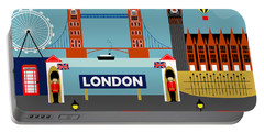 London England Horizontal Scene - Collage Portable Battery Charger by Karen Young