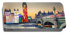 London Skyline Collage 3 Inc Big Ben, Westminster  Portable Battery Charger