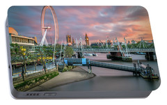 London Skyline Sunset Portable Battery Charger by James Udall
