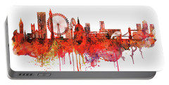 London Skyline Watercolor Portable Battery Charger by Marian Voicu