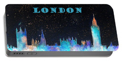 London Skyline With Banner Portable Battery Charger