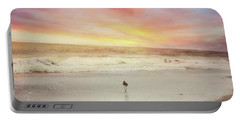 Lone Bird At Sunset Portable Battery Charger