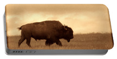 Lone Bison  Portable Battery Charger by American West Legend By Olivier Le Queinec