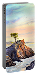 Lone Cypress Tree Pebble Beach Portable Battery Charger by Bill Holkham