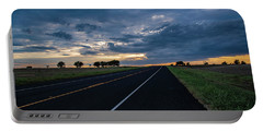 Lone Highway At Sunset Portable Battery Charger