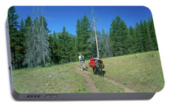 Lone Llama Packer In The Beautiful Bob Marshall Wilderness Portable Battery Charger by Jerry Voss