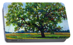 Portable Battery Charger featuring the painting Lone Oak by Hailey E Herrera