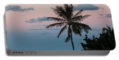 Lone Palm At Sunset Portable Battery Charger