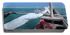 Lone Red Starfish On A Wooden Dhow 1 Portable Battery Charger