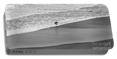 Lone Surfer Portable Battery Charger by Nicholas Burningham