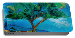 Portable Battery Charger featuring the painting Lonely Olive Tree by Elise Palmigiani