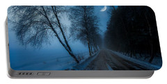 Portable Battery Charger featuring the photograph Lonely Road Where The Moon Is Your Friend by Rose-Maries Pictures