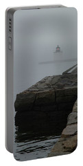 Portable Battery Charger featuring the photograph Lonely Salem Lighthouse In Fog by Jeff Folger