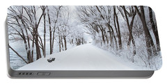 Lonely Snowy Road Portable Battery Charger