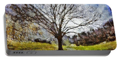 Portable Battery Charger featuring the painting Lonely Tree by Derek Gedney