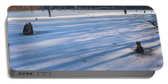 Long Blue Shadows Of Early Morning Portable Battery Charger by Angelo Marcialis