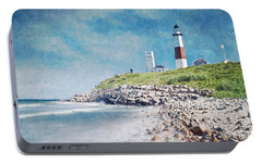 Portable Battery Charger featuring the digital art Long Island Lighthouse by Kai Saarto