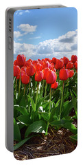 Long Red Tulips Portable Battery Charger by Mihaela Pater