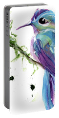 Portable Battery Charger featuring the painting Long-tailed Sylph by Dawn Derman