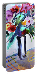Long Vase Of Red Flowers Portable Battery Charger by Amara Dacer
