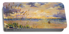 Portable Battery Charger featuring the painting Longboat Key Hockleys View by Lou Ann Bagnall