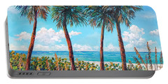 Portable Battery Charger featuring the painting Longboat Key Palms by Lou Ann Bagnall