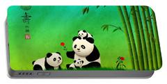 Longevity Panda Family Asian Art Portable Battery Charger