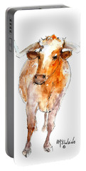 Longhorn 1 Watercolor Painting By Kmcelwaine Portable Battery Charger by Kathleen McElwaine