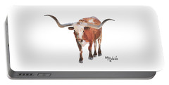Longhorn 17 Big Daddy Watercolor Painting By Kmcelwaine Portable Battery Charger by Kathleen McElwaine